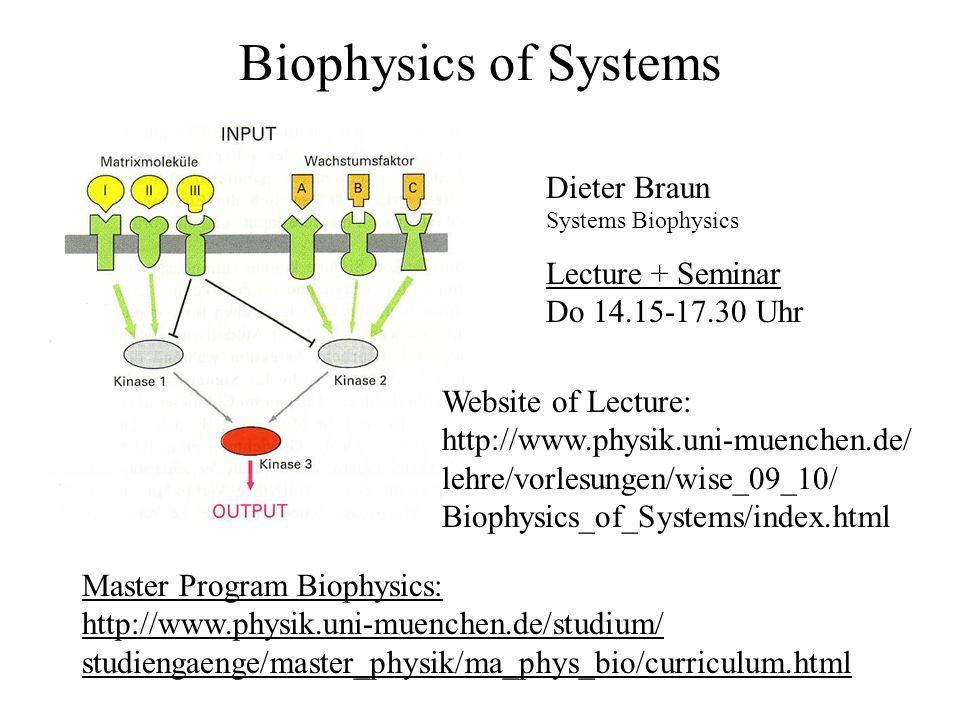 Inhalte : Biophysik der Systeme 1.Einleitung 2.Evolution + Nichtlineare Dynamik 3.Raumzeitliche Strukturbildung 4.Biologische Netzwerke 5.Beispiel: Chemotaxis 6.Genetische Netzwerke 7.Zelluläre Netzwerke / Neuronale Netze 8.Spieltheorie 9.Methoden der Systembiologie 10.Synthetische Biologie