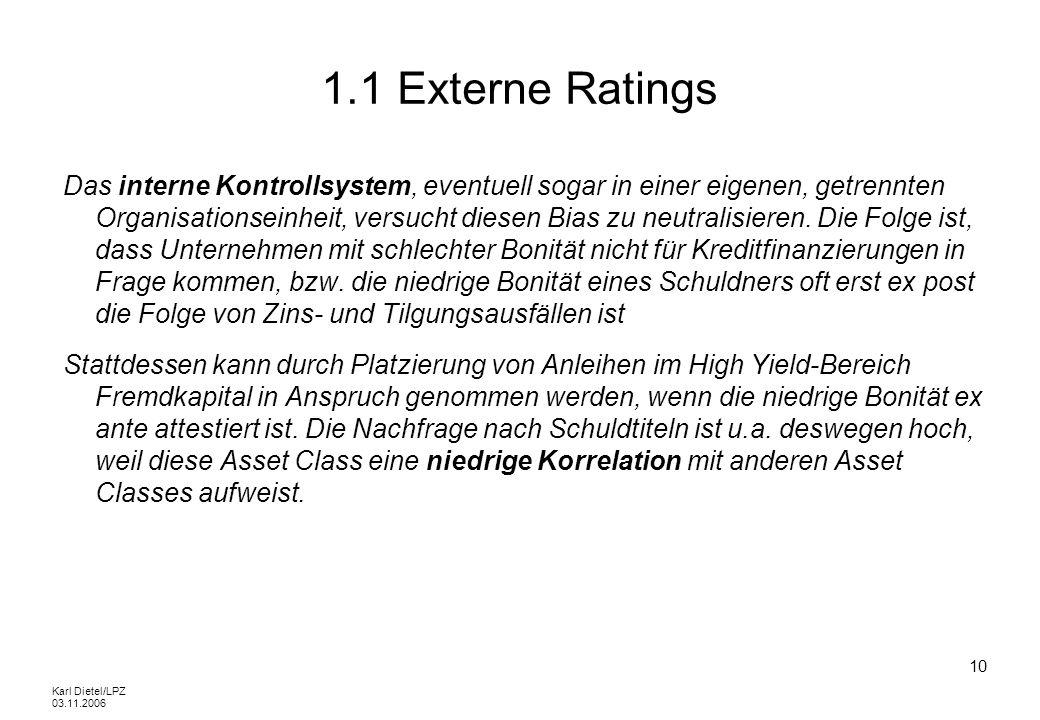 Karl Dietel/LPZ 03.11.2006 10 1.1 Externe Ratings Das interne Kontrollsystem, eventuell sogar in einer eigenen, getrennten Organisationseinheit, versu
