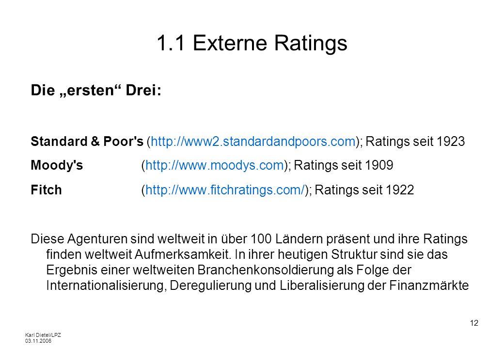 Karl Dietel/LPZ 03.11.2006 12 1.1 Externe Ratings Die ersten Drei: Standard & Poor's (http://www2.standardandpoors.com); Ratings seit 1923 Moody's (ht