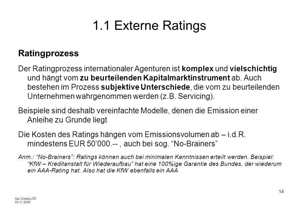 Karl Dietel/LPZ 03.11.2006 14 1.1 Externe Ratings Ratingprozess Der Ratingprozess internationaler Agenturen ist komplex und vielschichtig und hängt vo