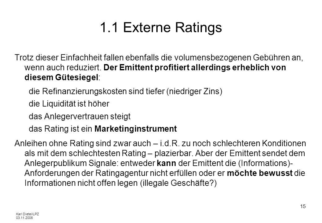 Karl Dietel/LPZ 03.11.2006 15 1.1 Externe Ratings Trotz dieser Einfachheit fallen ebenfalls die volumensbezogenen Gebühren an, wenn auch reduziert. De