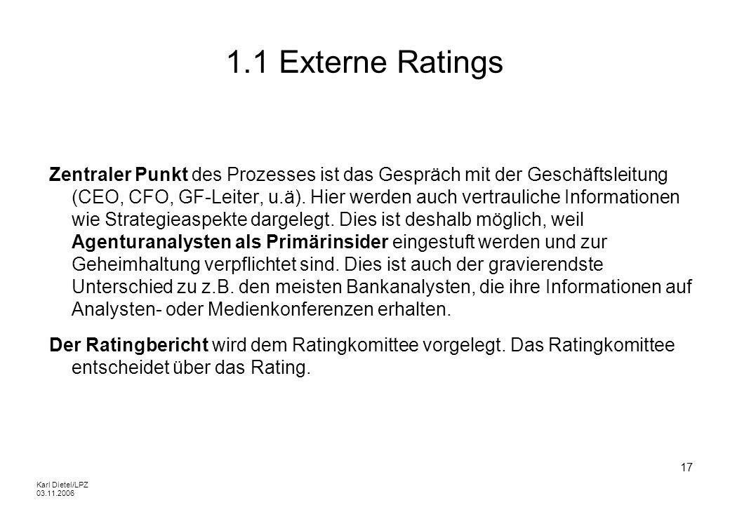 Karl Dietel/LPZ 03.11.2006 17 1.1 Externe Ratings Zentraler Punkt des Prozesses ist das Gespräch mit der Geschäftsleitung (CEO, CFO, GF-Leiter, u.ä).