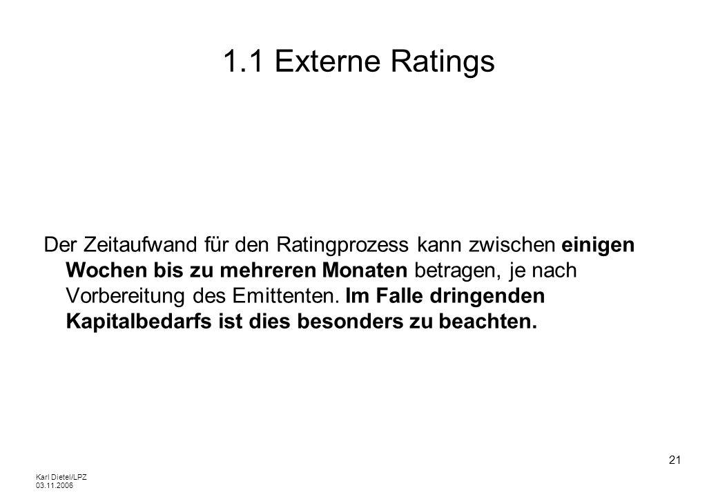 Karl Dietel/LPZ 03.11.2006 21 1.1 Externe Ratings Der Zeitaufwand für den Ratingprozess kann zwischen einigen Wochen bis zu mehreren Monaten betragen,