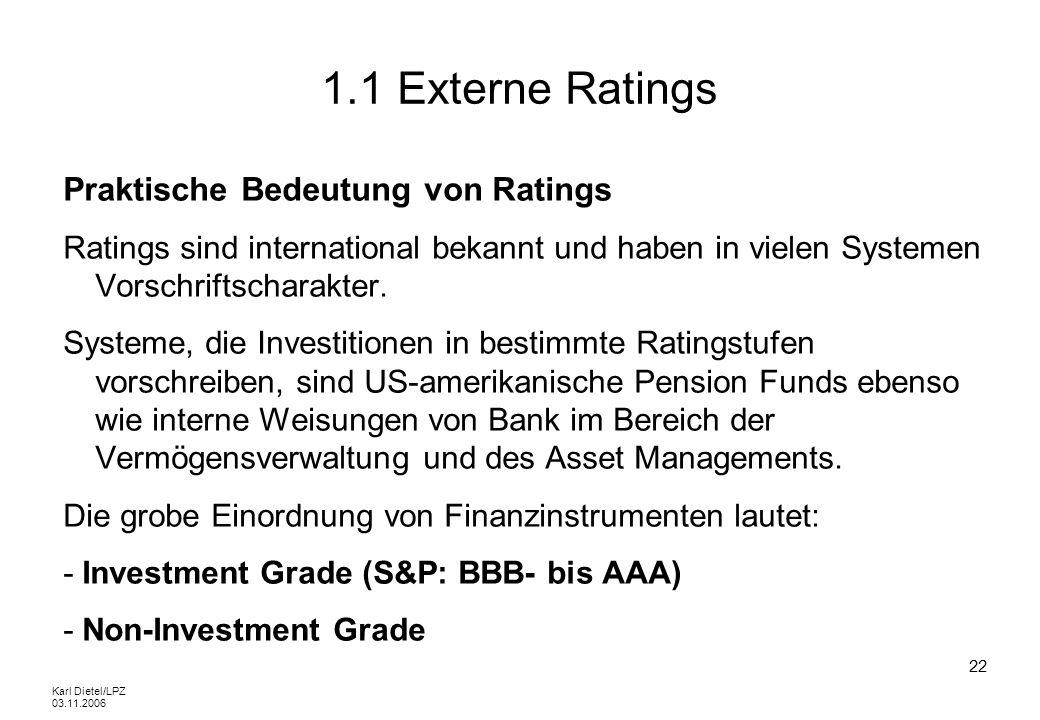 Karl Dietel/LPZ 03.11.2006 22 1.1 Externe Ratings Praktische Bedeutung von Ratings Ratings sind international bekannt und haben in vielen Systemen Vor