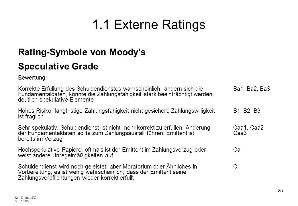 Karl Dietel/LPZ 03.11.2006 25 1.1 Externe Ratings Rating-Symbole von Moodys Speculative Grade Bewertung: Korrekte Erfüllung des Schuldendienstes wahrs