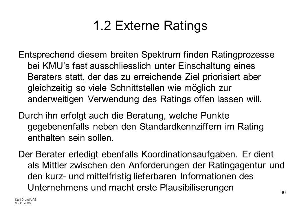 Karl Dietel/LPZ 03.11.2006 30 1.2 Externe Ratings Entsprechend diesem breiten Spektrum finden Ratingprozesse bei KMUs fast ausschliesslich unter Einsc