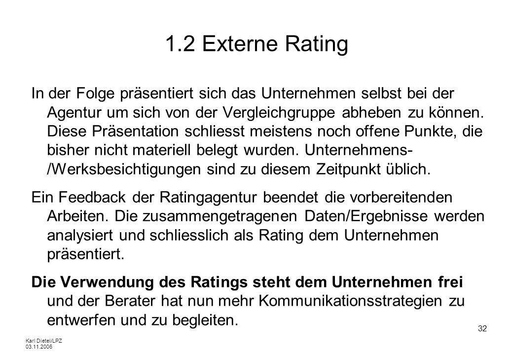 Karl Dietel/LPZ 03.11.2006 32 1.2 Externe Rating In der Folge präsentiert sich das Unternehmen selbst bei der Agentur um sich von der Vergleichgruppe