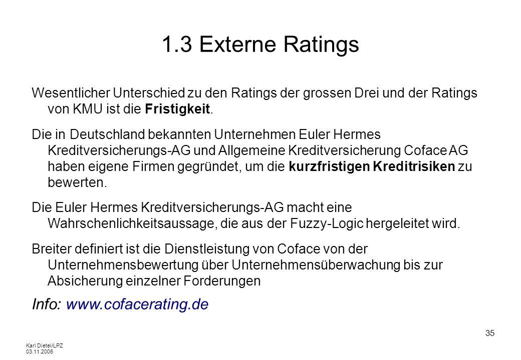 Karl Dietel/LPZ 03.11.2006 35 1.3 Externe Ratings Wesentlicher Unterschied zu den Ratings der grossen Drei und der Ratings von KMU ist die Fristigkeit