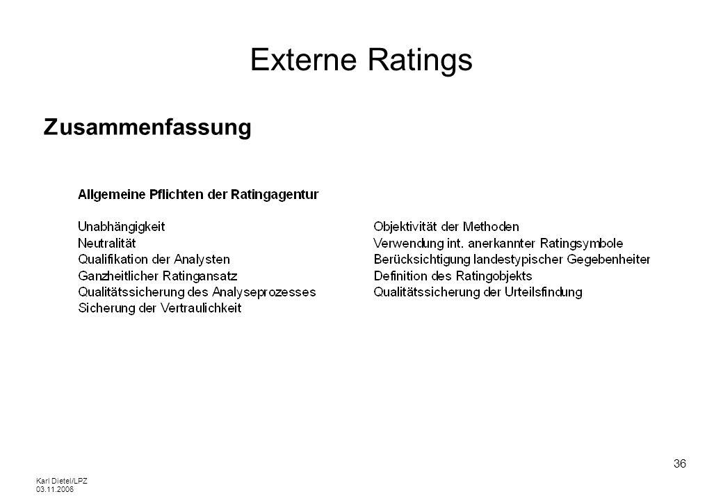 Karl Dietel/LPZ 03.11.2006 36 Externe Ratings Zusammenfassung