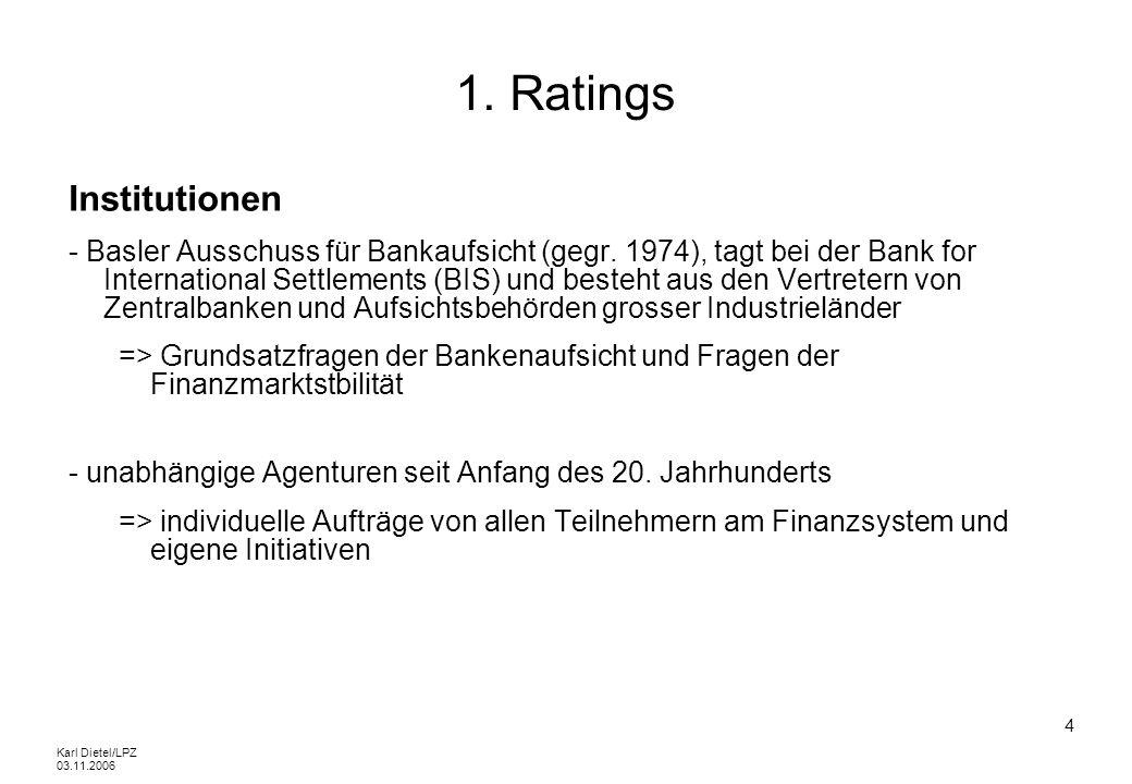 Karl Dietel/LPZ 03.11.2006 25 1.1 Externe Ratings Rating-Symbole von Moodys Speculative Grade Bewertung: Korrekte Erfüllung des Schuldendienstes wahrscheinlich; ändern sich dieBa1, Ba2, Ba3 Fundamentaldaten, könnte die Zahlungsfähigkeit stark beeinträchtigt werden; deutlich spekulative Elemente Hohes Risiko; langfristige Zahlungsfähigkeit nicht gesichert; ZahlungswilligkeitB1, B2, B3 ist fraglich Sehr spekulativ; Schuldendienst ist nicht mehr korrekt zu erfüllen; ÄnderungCaa1, Caa2 der Fundamentaldaten sollte zum Zahlungsausfall führen; Emittent istCaa3 bereits im Verzug Hochspekulative Papiere; oftmals ist der Emittent im Zahlungsverzug oderCa weist andere Unregelmäßigkeiten auf Schuldendienst wird noch geleistet, aber Moratorium oder Ähnliches inC Vorbereitung; es ist wenig wahrscheinlich, dass der Emittent seine Zahlungsverpflichtungen wieder korrekt erfüllt