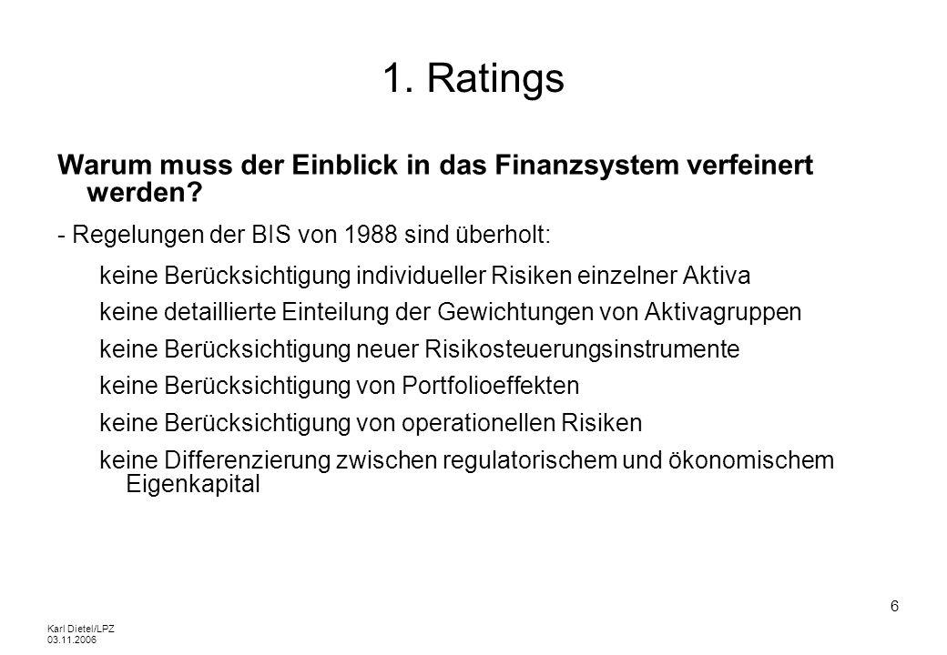 Karl Dietel/LPZ 03.11.2006 37 Externe Ratings Erhebungsgrundsätze Trennung von Erhebung und Beurteilung Standardisierung der Erhebung und Auswertung Dokumentation Bei Abweichung von Standardisierung: Begründungspflicht Plausibilisierung Vier-Augen-Prinzip