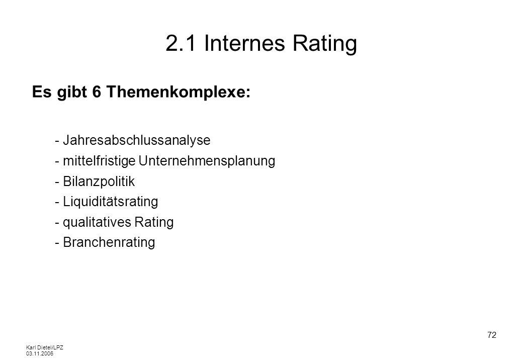 Karl Dietel/LPZ 03.11.2006 72 2.1 Internes Rating Es gibt 6 Themenkomplexe: - Jahresabschlussanalyse - mittelfristige Unternehmensplanung - Bilanzpoli
