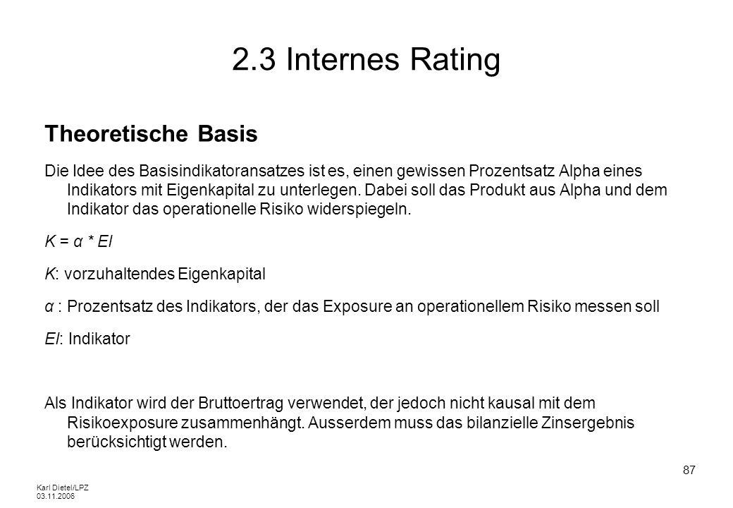 Karl Dietel/LPZ 03.11.2006 87 2.3 Internes Rating Theoretische Basis Die Idee des Basisindikatoransatzes ist es, einen gewissen Prozentsatz Alpha eine