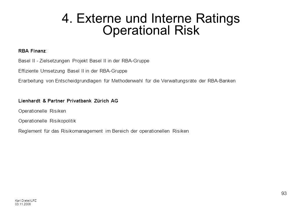 Karl Dietel/LPZ 03.11.2006 93 4. Externe und Interne Ratings Operational Risk RBA Finanz: Basel II - Zielsetzungen Projekt Basel II in der RBA-Gruppe