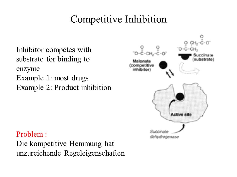 Competitive Inhibition Inhibitor competes with substrate for binding to enzyme Example 1: most drugs Example 2: Product inhibition Problem : Die kompe