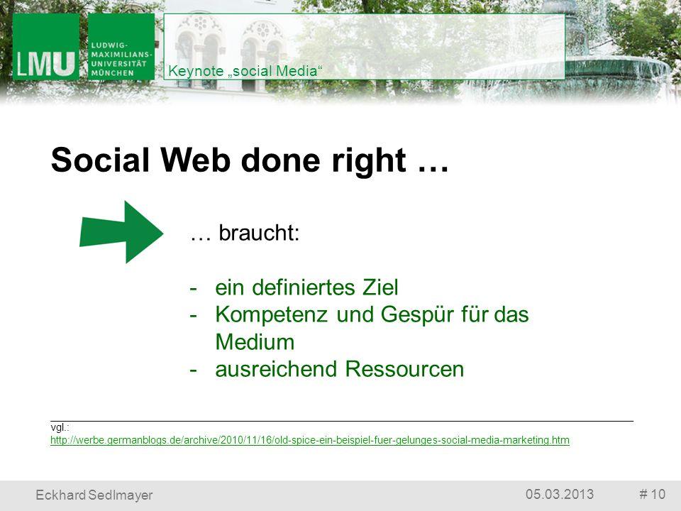 # 1005.03.2013 Eckhard Sedlmayer Keynote social Media vgl.: http://werbe.germanblogs.de/archive/2010/11/16/old-spice-ein-beispiel-fuer-gelunges-social