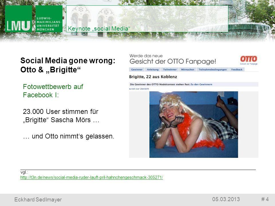 # 505.03.2013 Eckhard Sedlmayer Keynote social Media vgl.: http://t3n.de/news/social-media-ruder-lauft-pril-hahnchengeschmack-305271/ Social Media gone wrong: Pril & das Hähnchen Fotowettbewerb auf Facebook II: Pril sichert sich in den Teilnahmebedingungen ab … … und erntet Sturm.