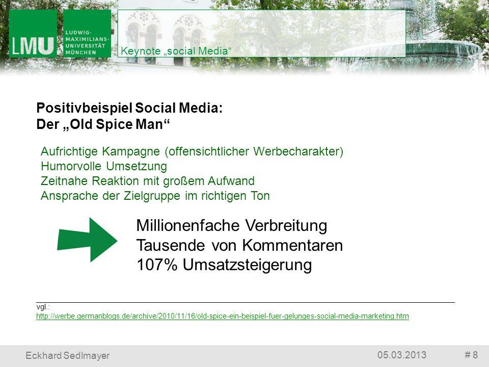# 805.03.2013 Eckhard Sedlmayer Keynote social Media vgl.: http://werbe.germanblogs.de/archive/2010/11/16/old-spice-ein-beispiel-fuer-gelunges-social-