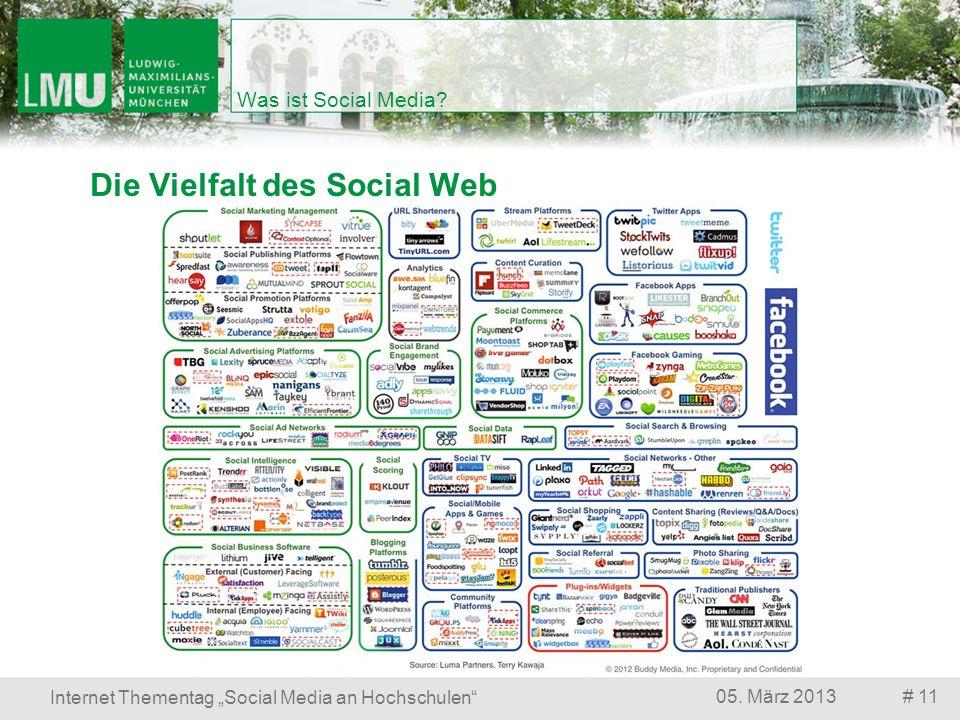 # 1105. März 2013 Internet Thementag Social Media an Hochschulen Was ist Social Media? Die Vielfalt des Social Web
