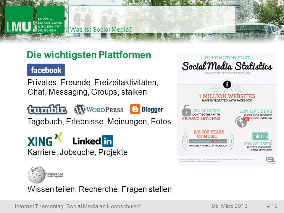 Die wichtigsten Plattformen # 1205. März 2013 Internet Thementag Social Media an Hochschulen Was ist Social Media? Privates, Freunde, Freizeitaktivitä