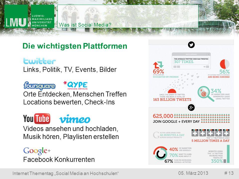 Die wichtigsten Plattformen # 1305. März 2013 Internet Thementag Social Media an Hochschulen Was ist Social Media? Orte Entdecken, Menschen Treffen Lo