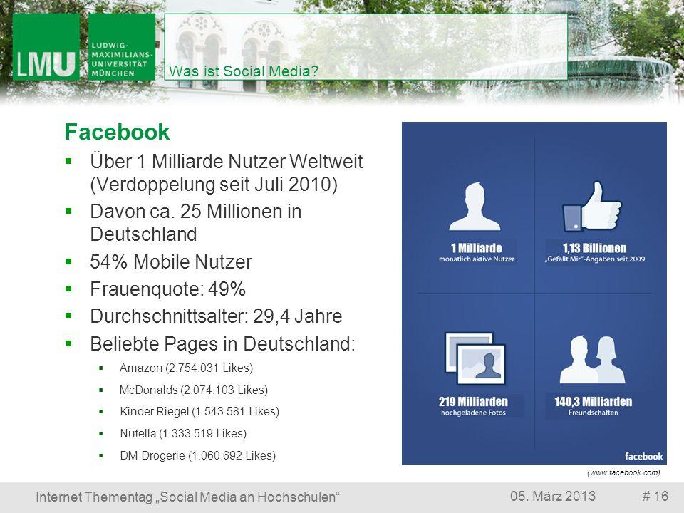 # 1605. März 2013 Internet Thementag Social Media an Hochschulen Was ist Social Media? Facebook Über 1 Milliarde Nutzer Weltweit (Verdoppelung seit Ju