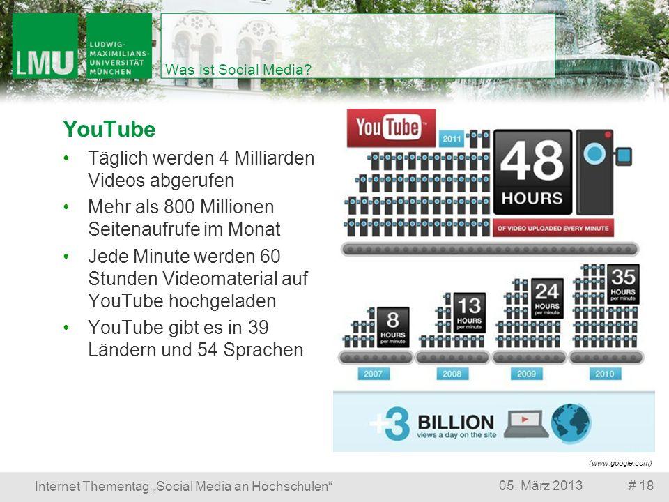 # 1805. März 2013 Internet Thementag Social Media an Hochschulen Was ist Social Media? YouTube Täglich werden 4 Milliarden Videos abgerufen Mehr als 8