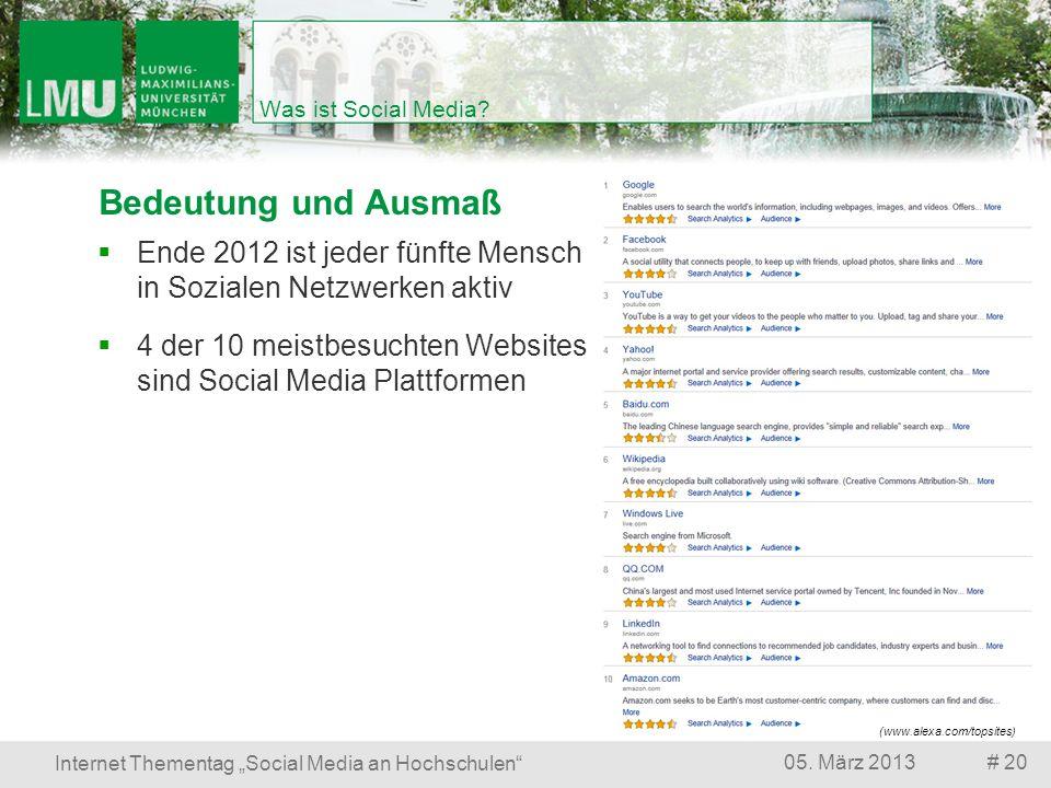 # 2005. März 2013 Internet Thementag Social Media an Hochschulen Was ist Social Media? Bedeutung und Ausmaß (www.alexa.com/topsites) 4 der 10 meistbes