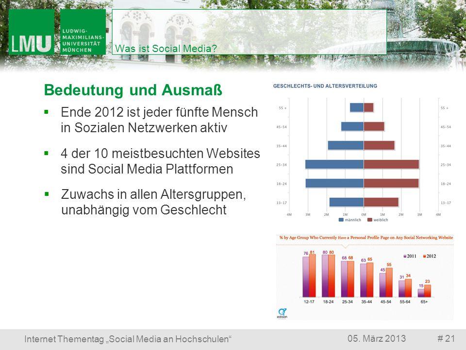 # 2105. März 2013 Internet Thementag Social Media an Hochschulen Was ist Social Media? Bedeutung und Ausmaß Zuwachs in allen Altersgruppen, unabhängig