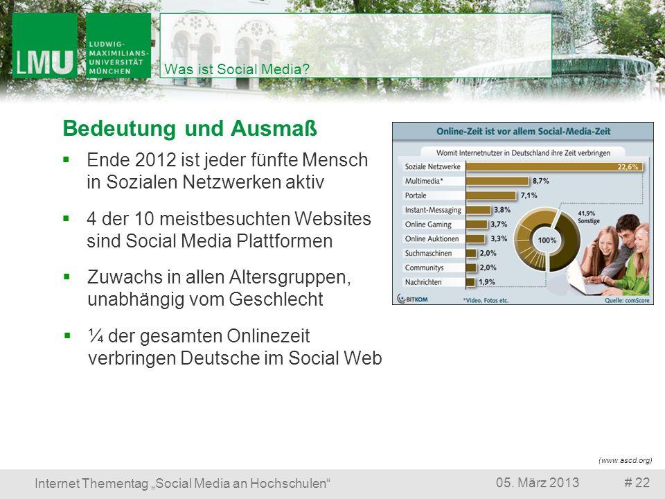 # 2205. März 2013 Internet Thementag Social Media an Hochschulen Was ist Social Media? Bedeutung und Ausmaß ¼ der gesamten Onlinezeit verbringen Deuts