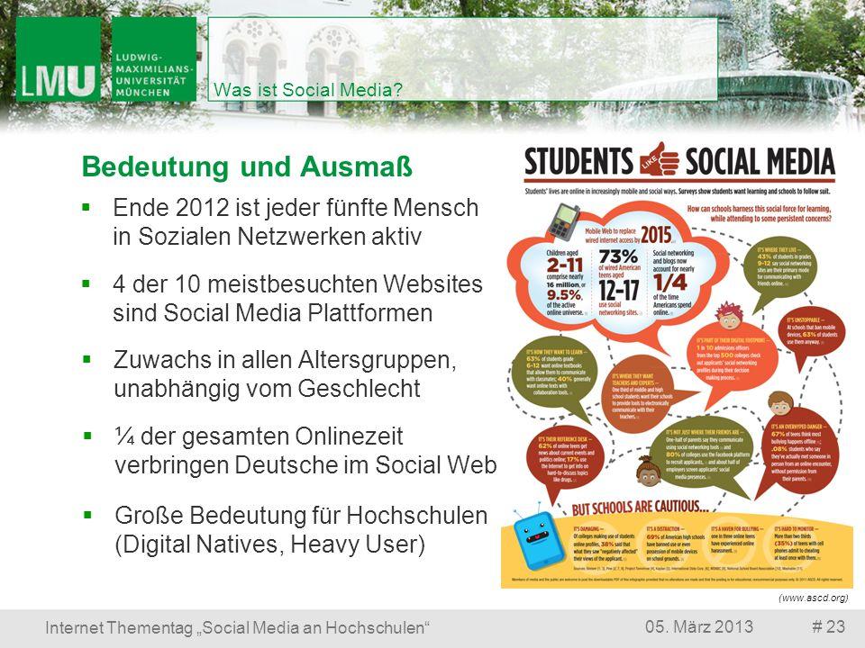 # 2305. März 2013 Internet Thementag Social Media an Hochschulen Was ist Social Media? Bedeutung und Ausmaß Große Bedeutung für Hochschulen (Digital N