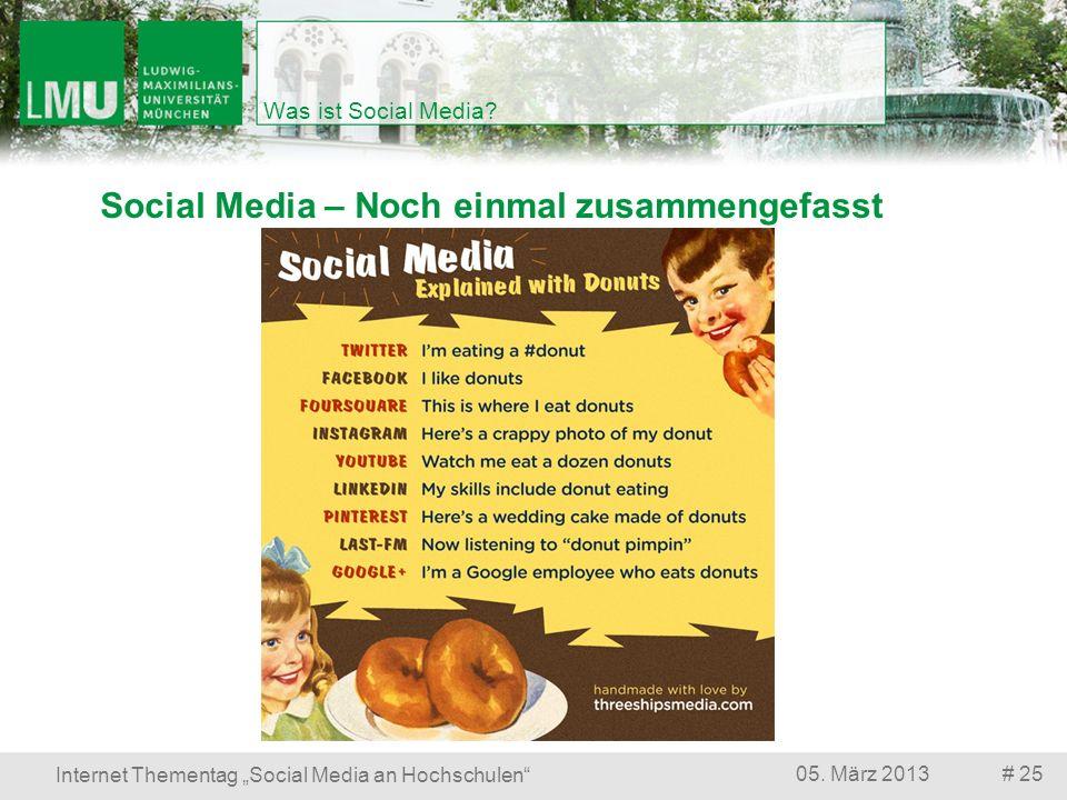 Social Media – Noch einmal zusammengefasst # 2505. März 2013 Internet Thementag Social Media an Hochschulen Was ist Social Media?