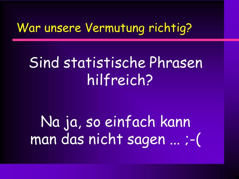 Was haben wir gelernt? n was (statistische) n-gramme sind n Vor-/Nachteile syntaktischer und statistischer Phrasen n Möglichkeit einer Klassifikator-u
