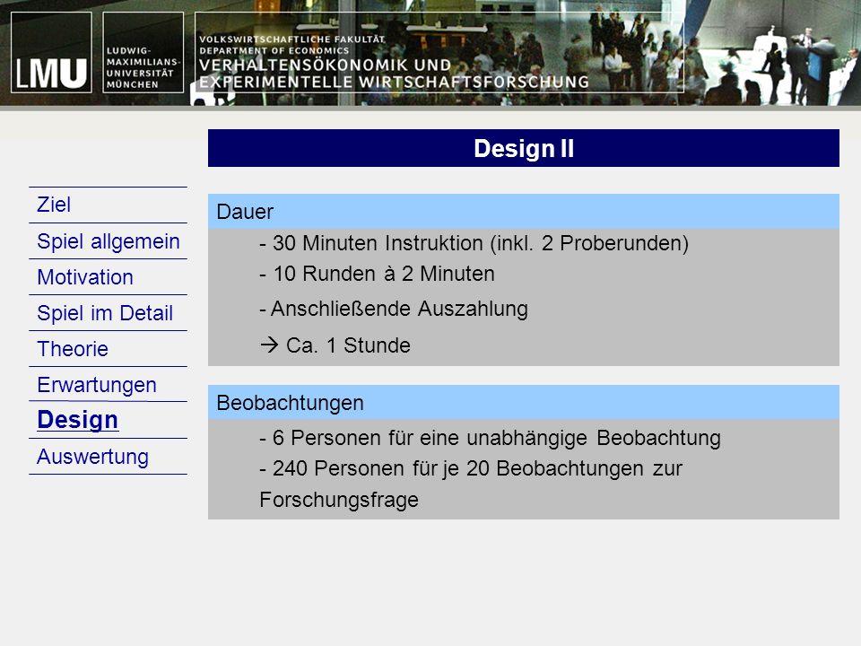 Motivation Design Erwartungen Theorie Spiel im Detail Spiel allgemein Ziel Auswertung Design Design II - 30 Minuten Instruktion (inkl. 2 Proberunden)