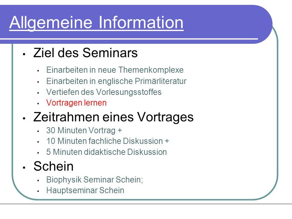 Allgemeine Information Ziel des Seminars Einarbeiten in neue Themenkomplexe Einarbeiten in englische Primärliteratur Vertiefen des Vorlesungsstoffes V
