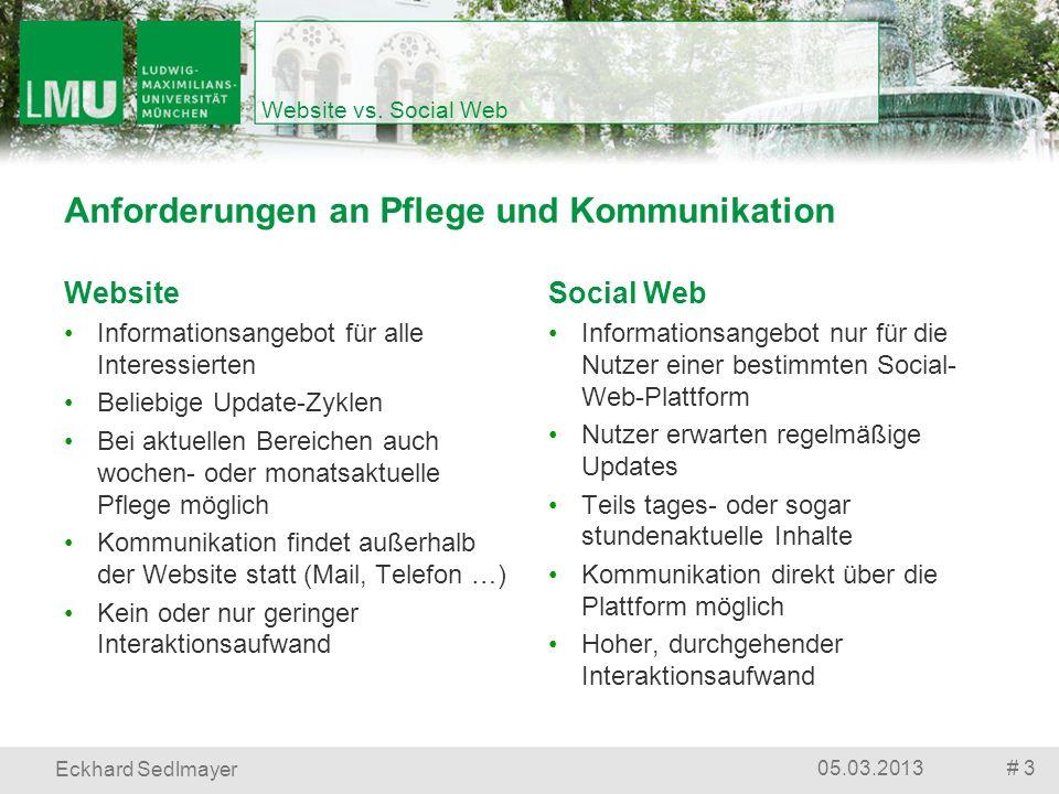 Website vs. Social Web # 305.03.2013 Eckhard Sedlmayer Social Web Informationsangebot nur für die Nutzer einer bestimmten Social- Web-Plattform Nutzer
