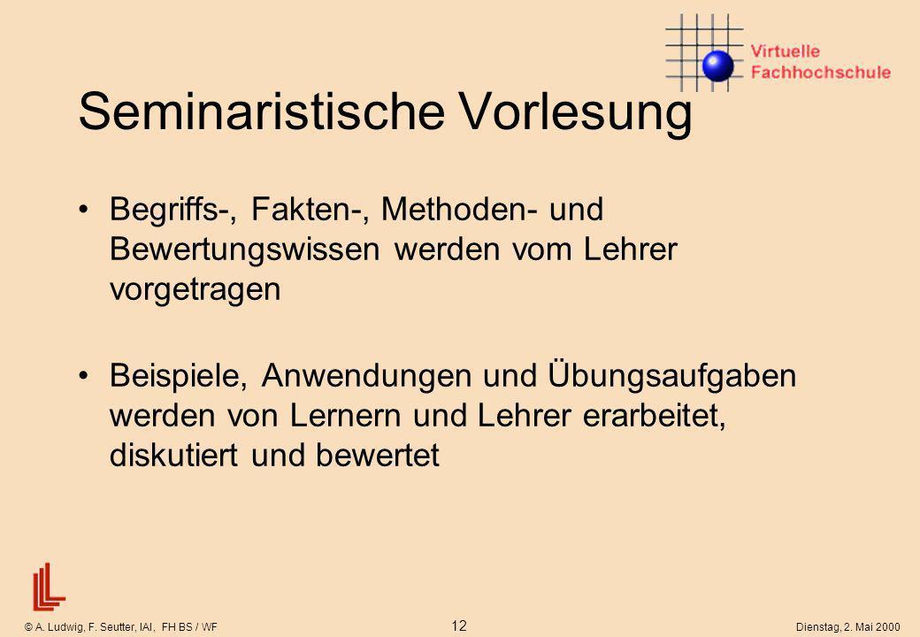 © A. Ludwig, F. Seutter, IAI, FH BS / WF 12 Dienstag, 2. Mai 2000 Seminaristische Vorlesung Begriffs-, Fakten-, Methoden- und Bewertungswissen werden