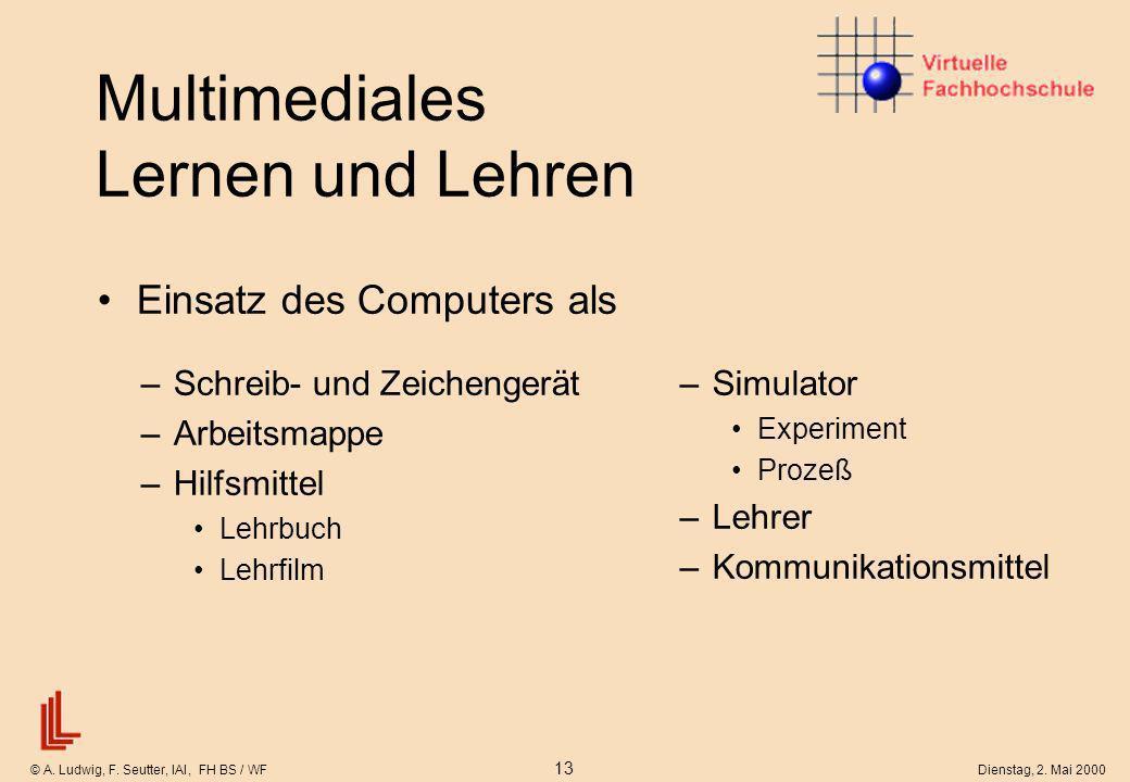 © A. Ludwig, F. Seutter, IAI, FH BS / WF 13 Dienstag, 2. Mai 2000 Multimediales Lernen und Lehren Einsatz des Computers als –Simulator Experiment Proz
