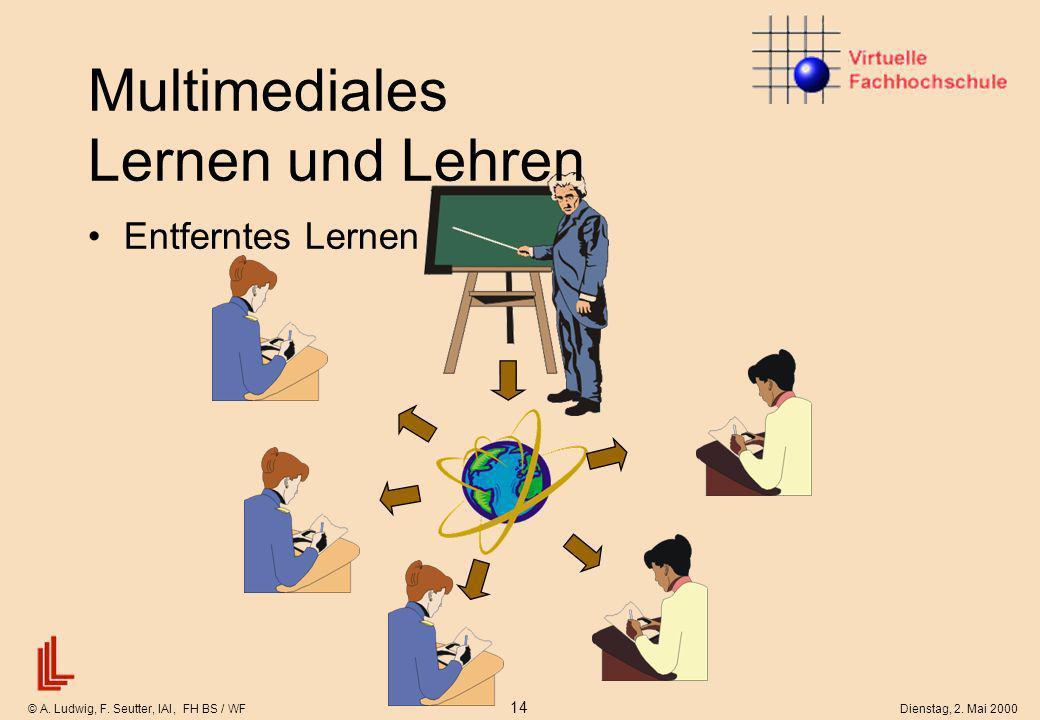 © A. Ludwig, F. Seutter, IAI, FH BS / WF 14 Dienstag, 2. Mai 2000 Entferntes Lernen Multimediales Lernen und Lehren