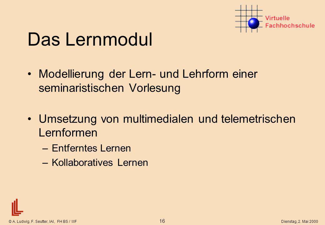 © A. Ludwig, F. Seutter, IAI, FH BS / WF 16 Dienstag, 2. Mai 2000 Das Lernmodul Modellierung der Lern- und Lehrform einer seminaristischen Vorlesung U