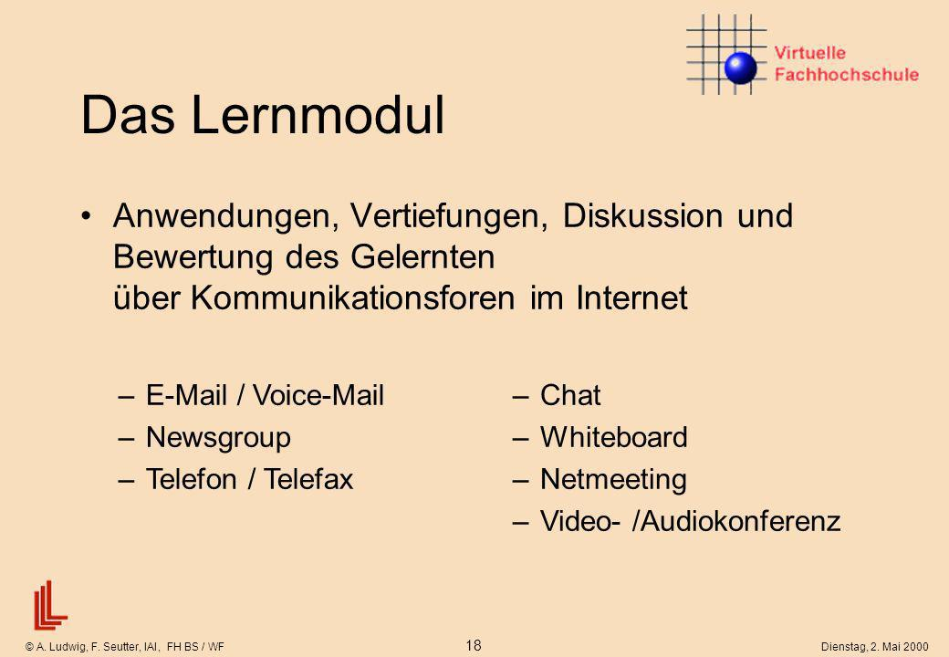 © A. Ludwig, F. Seutter, IAI, FH BS / WF 18 Dienstag, 2. Mai 2000 Das Lernmodul Anwendungen, Vertiefungen, Diskussion und Bewertung des Gelernten über