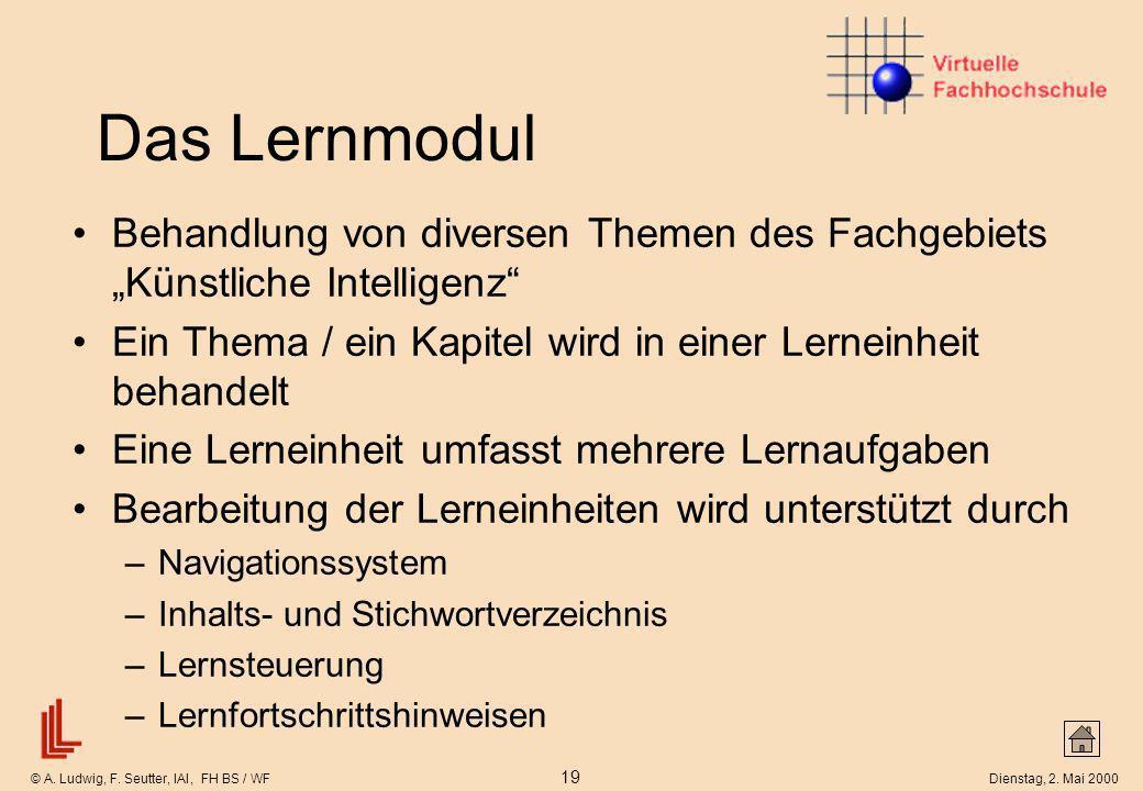 © A. Ludwig, F. Seutter, IAI, FH BS / WF 19 Dienstag, 2. Mai 2000 Das Lernmodul Behandlung von diversen Themen des Fachgebiets Künstliche Intelligenz
