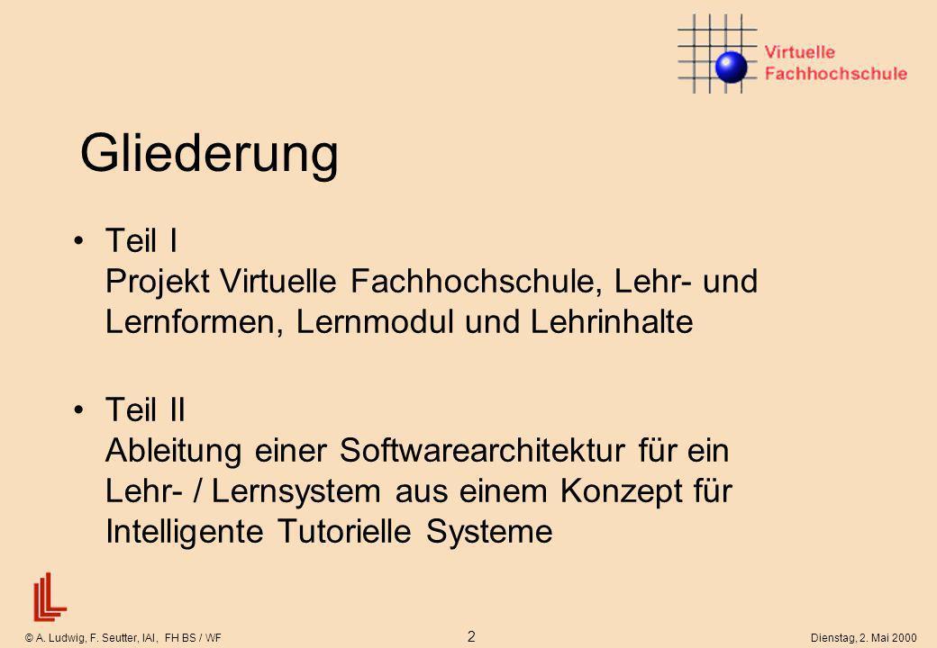 © A. Ludwig, F. Seutter, IAI, FH BS / WF 2 Dienstag, 2. Mai 2000 Gliederung Teil I Projekt Virtuelle Fachhochschule, Lehr- und Lernformen, Lernmodul u