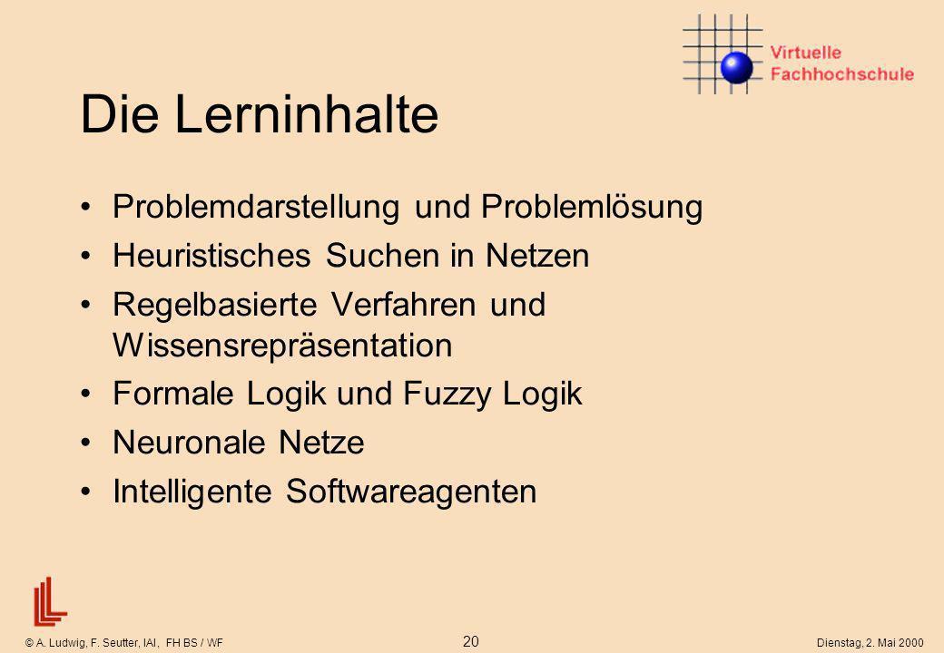 © A. Ludwig, F. Seutter, IAI, FH BS / WF 20 Dienstag, 2. Mai 2000 Die Lerninhalte Problemdarstellung und Problemlösung Heuristisches Suchen in Netzen
