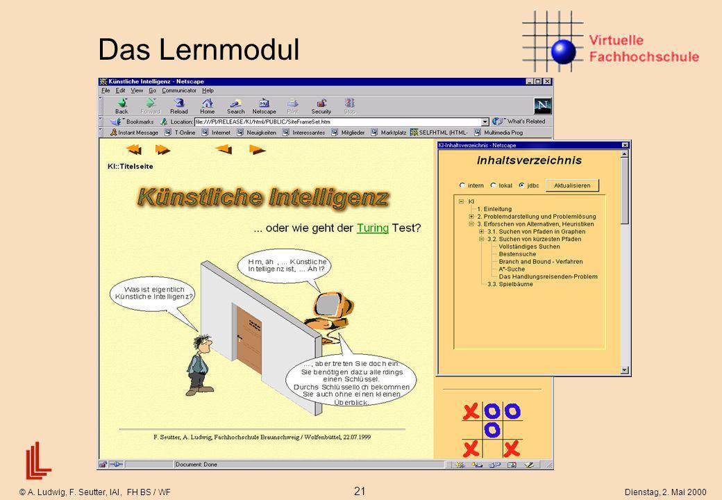© A. Ludwig, F. Seutter, IAI, FH BS / WF 21 Dienstag, 2. Mai 2000 Das Lernmodul