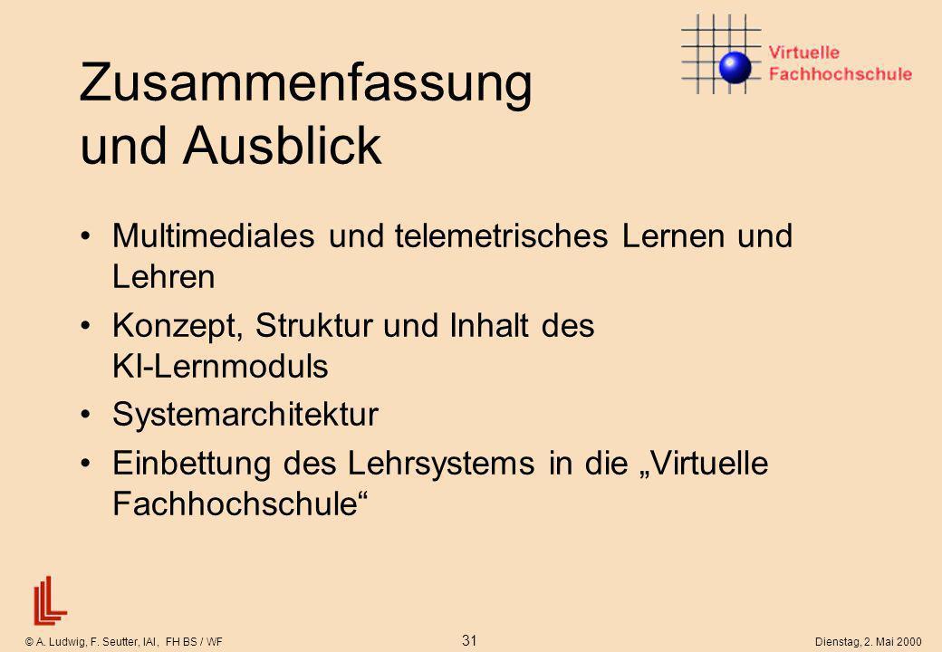 © A. Ludwig, F. Seutter, IAI, FH BS / WF 31 Dienstag, 2. Mai 2000 Zusammenfassung und Ausblick Multimediales und telemetrisches Lernen und Lehren Konz
