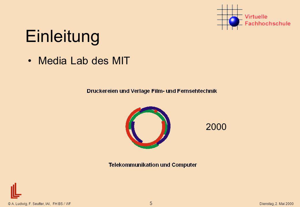 © A. Ludwig, F. Seutter, IAI, FH BS / WF 5 Dienstag, 2. Mai 2000 Einleitung Media Lab des MIT 2000