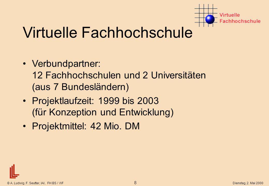© A. Ludwig, F. Seutter, IAI, FH BS / WF 8 Dienstag, 2. Mai 2000 Virtuelle Fachhochschule Verbundpartner: 12 Fachhochschulen und 2 Universitäten (aus