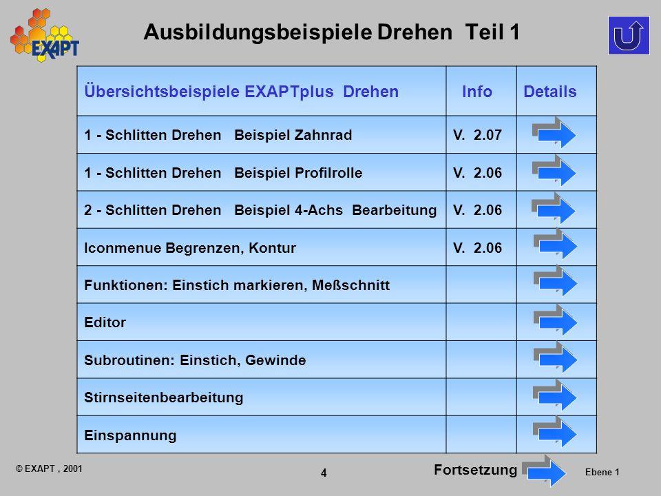 © EXAPT, 2001 4 Ebene 1 Ausbildungsbeispiele Drehen Teil 1 Übersichtsbeispiele EXAPTplus Drehen InfoDetails 1 - Schlitten Drehen Beispiel ZahnradV.