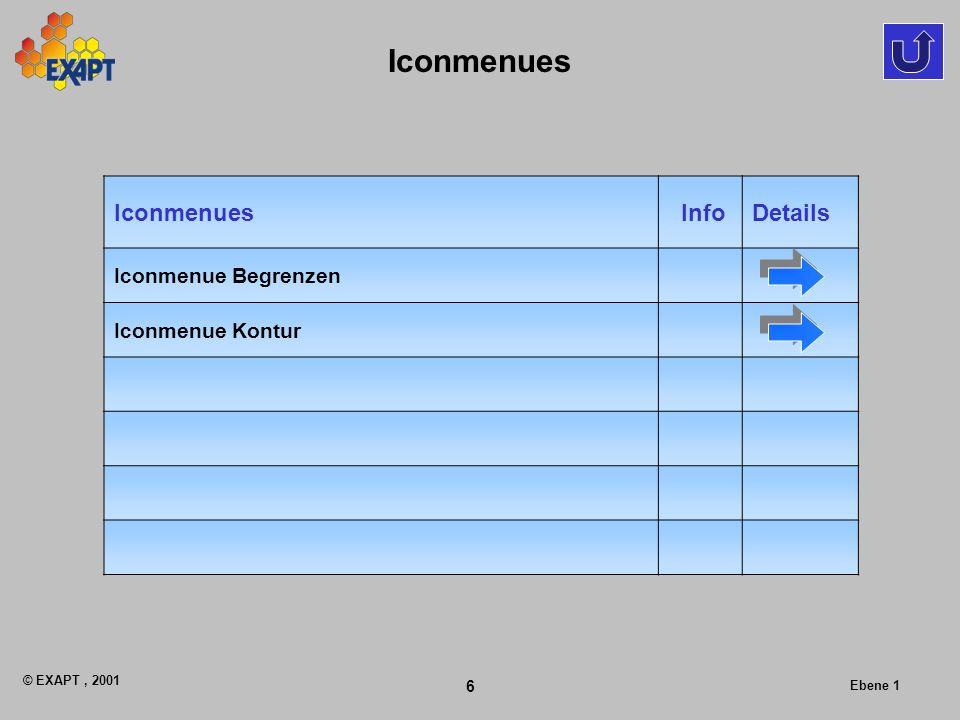 © EXAPT, 2001 6 Ebene 1 Iconmenues InfoDetails Iconmenue Begrenzen Iconmenue Kontur